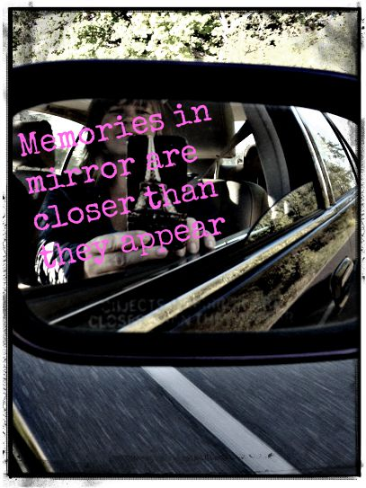 objects in mirror are closer pink